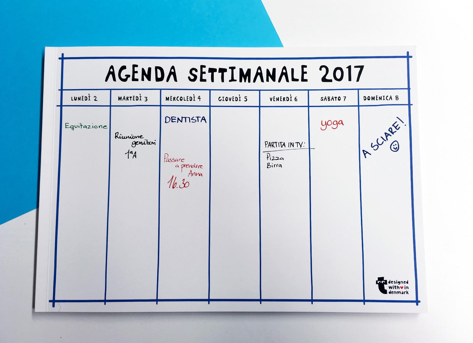Pianificare il 2017 con planner e file excel madesign - Agenda da tavolo settimanale ...
