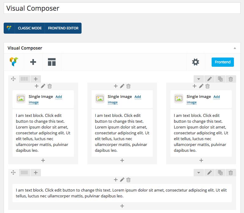 Esempio di pagina realizzata da Visual Composer