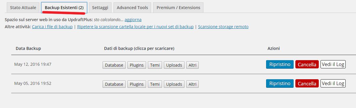 UpdraftPlus Backup/Restore - Come fare un backup sul tuo sito WordPressCome fare un backup sul tuo sito WordPress