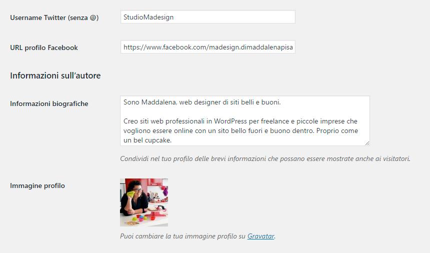 Aggiorna il tuo profilo WordPress
