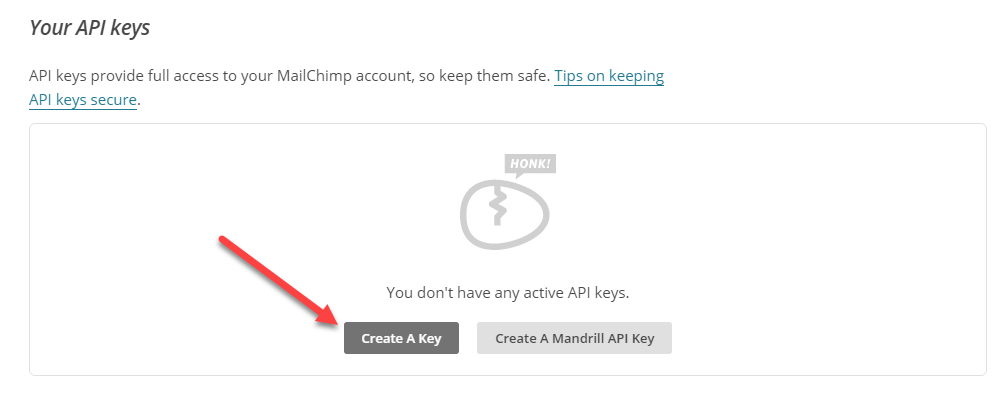 Create API key Mailchimp