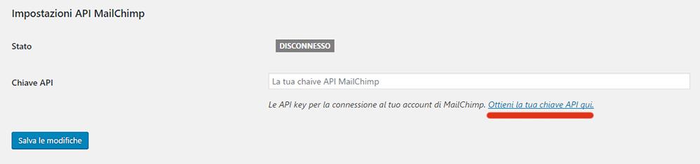 Mailchimp Api Key collegamento sito web
