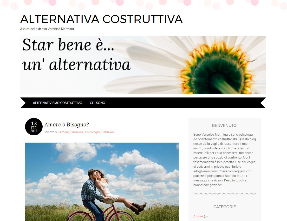 Sito web Veronica Mormina prima del restyling