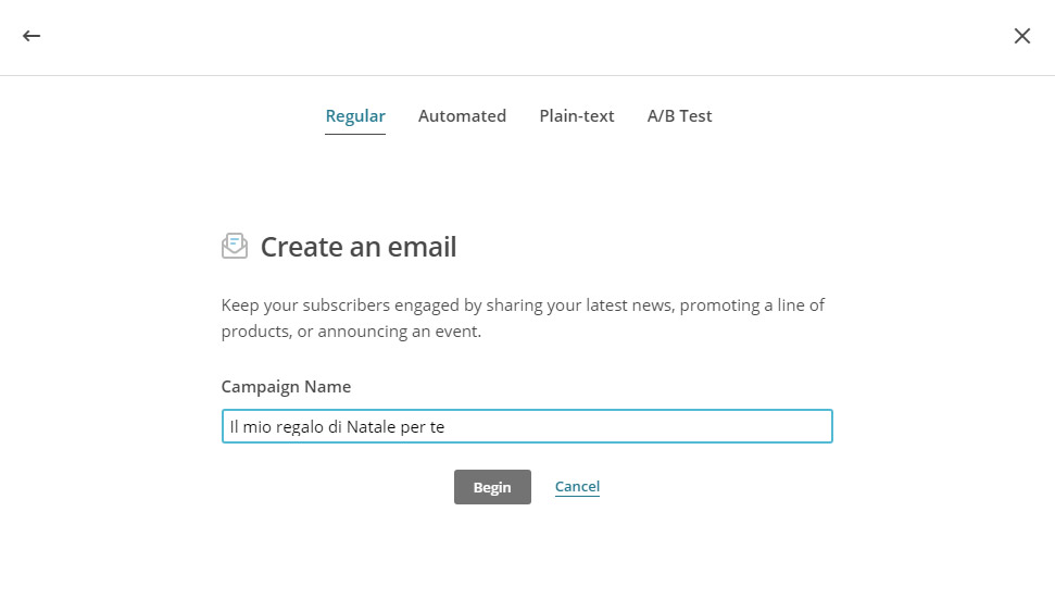Crea una campagna con Mailchimp