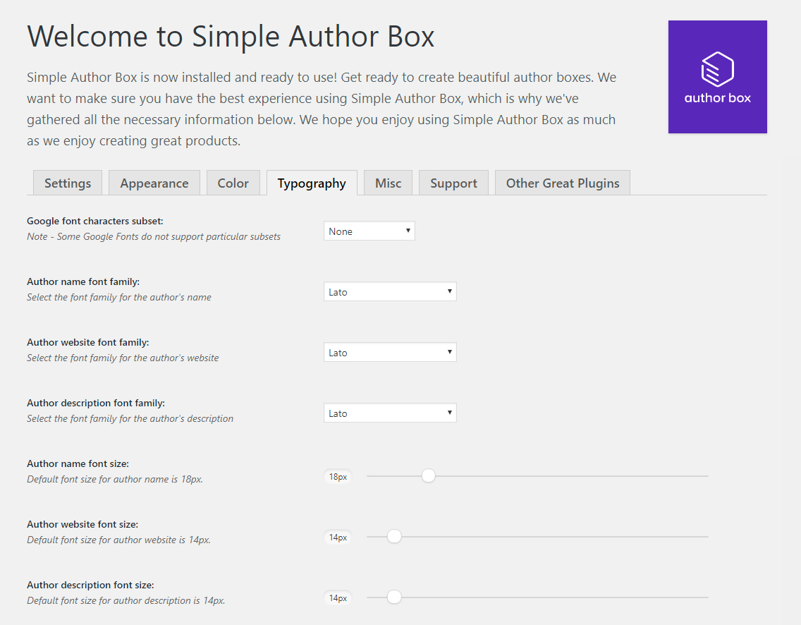 Impostazioni plugin Simple Author Box di WordPress