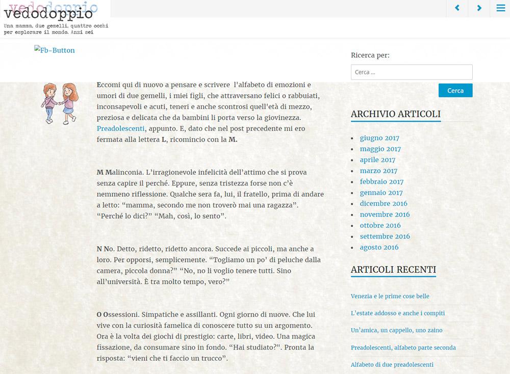 Vedodoppio - blog, versione precedente