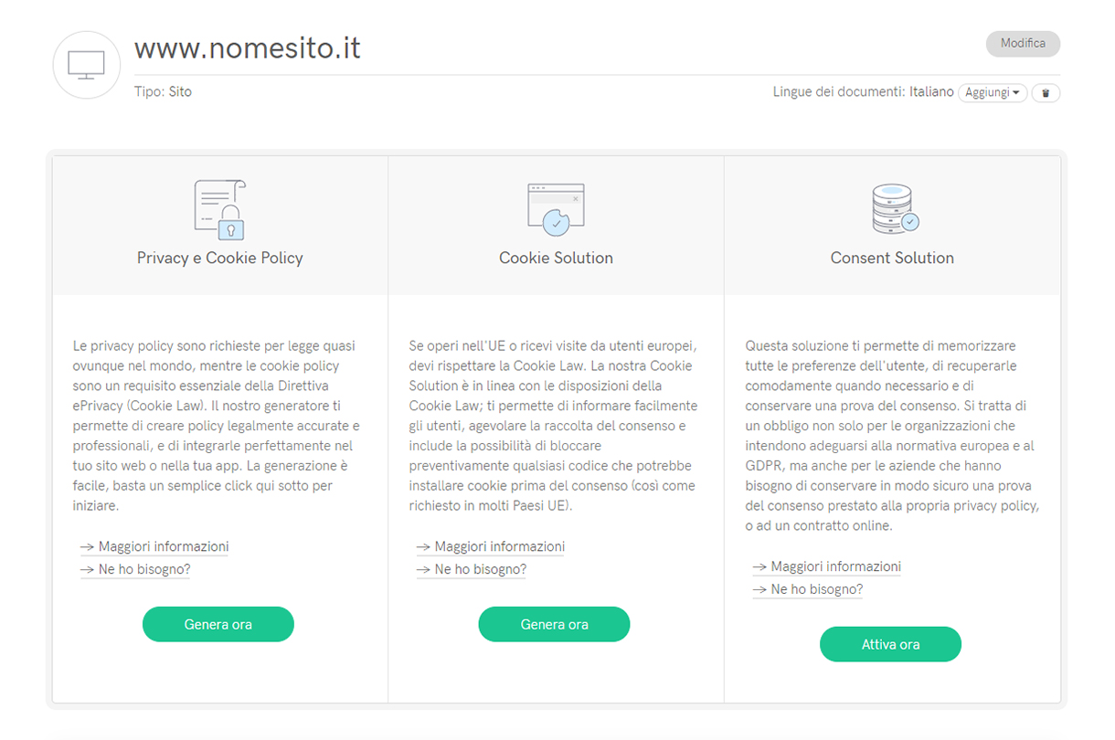 Generazione Privacy Policy Iubenda e WordPress