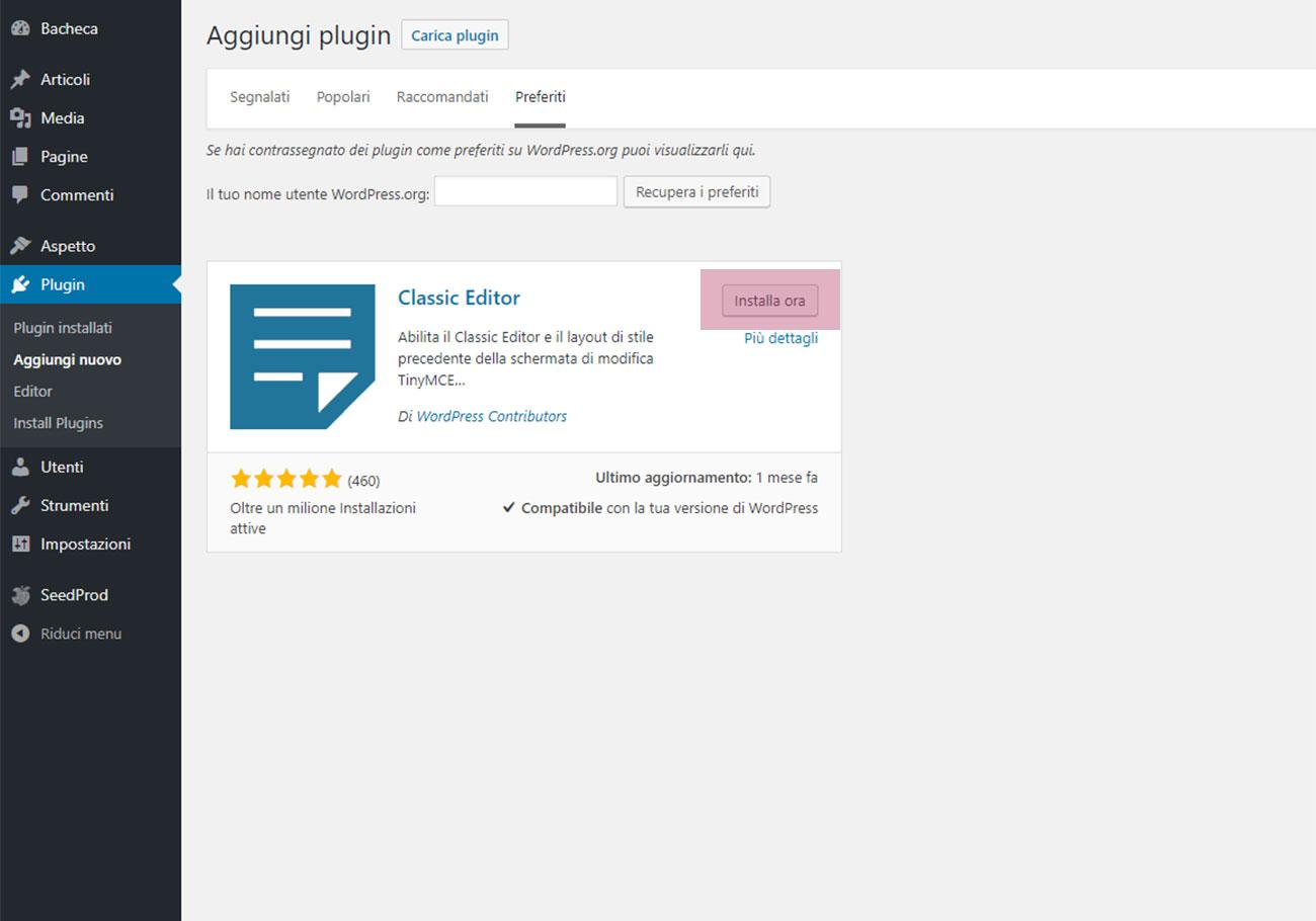 Aggiornamento WordPress 5 - Editor Gutenberg