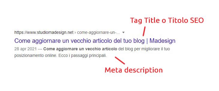 Meta description e Tag Title